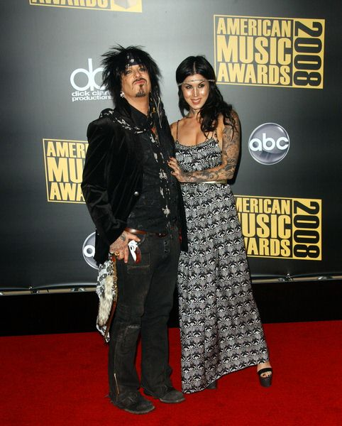Nikki Sixx, Kat Von D at 2008 American Music Awards - Arrivals at Nokia Theater, Los Angeles, CA. USA