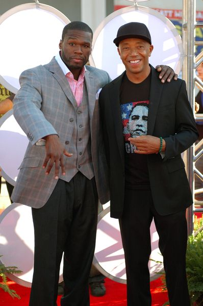 50 Cent (Curtis Jackson), Russell Simmons at 2008 BET Hip Hop Awards - Arrivals at Atlanta Civic Center in Atlanta, GA, USA