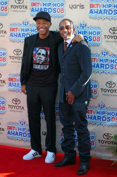 Russell Simmons, Kevin Lyles at 2008 BET Hip Hop Awards - Arrivals at Atlanta Civic Center in Atlanta, GA, USA