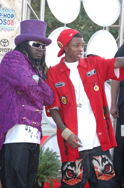 T-Pain (Faheem Rasheed Najm), Soulja Boy at 2008 BET Hip Hop Awards - Arrivals at Atlanta Civic Center in Atlanta, GA, USA