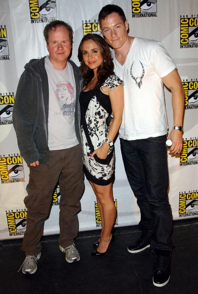 Joss Whedon, Eliza Dushku, Tahmoh Penikett at 2008 Comic Con International Day Three at San Diego Convention Center, San Diego, CA. USA