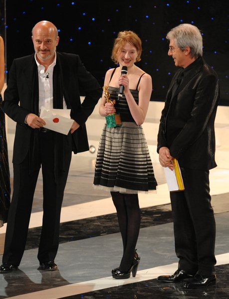 Claudio Bisio, Alba Rohrwacher, Tullio Solenghi at 2008 David Di Donatello Awards For Italian Cinema - Inside Arrivals and Ceremony - Auditorium della Conciliazione, Rome, Italy