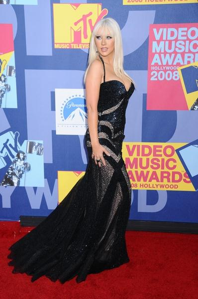 Christina Aguilera at 2008 MTV Video Music Awards - Arrivals at Paramount Pictures Studios, Los Angeles, CA USA