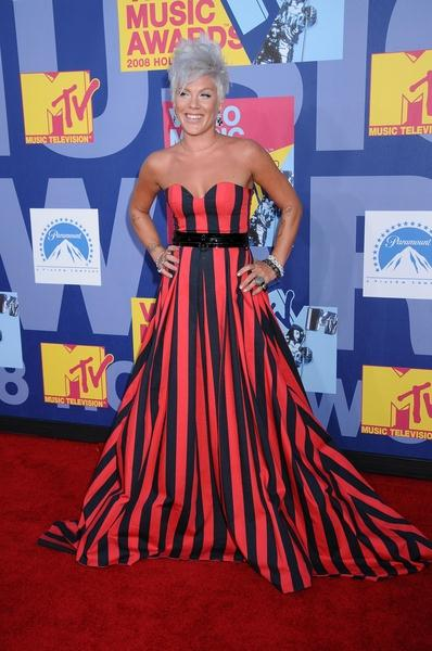 Pink at 2008 MTV Video Music Awards - Arrivals at Paramount Pictures Studios, Los Angeles, CA USA