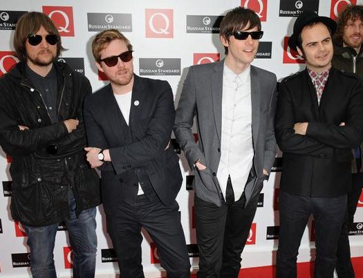 Kaiser Chiefs (Ricky Wilson - vocals, Andrew 'Whitey' White - guitar, Simon Rix - bass, Nick 'Peanut' Baines - keyboards, Nick Hodgson -drums) at 2008 Q Magazine Music Awards - Arrivals - Grosvenor, London, UK