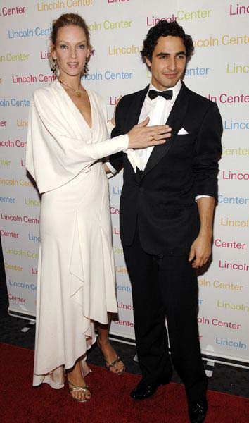 Uma Thurman, Zac Posen at 2008 Young Patrons of Lincoln Center Fall Masquerade Gala at Rose Hall, New York City, NY, USA