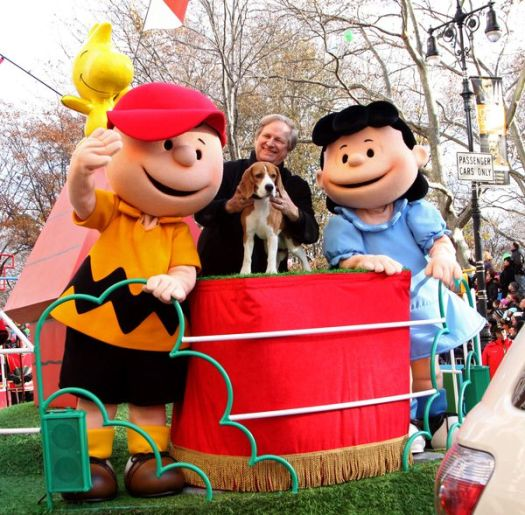 Charlie Brown, Uno the dog, Lucy at 82nd Annual Macy's Thanksgiving Day Parade at Streets of Manhattan, New York City, NY, USA