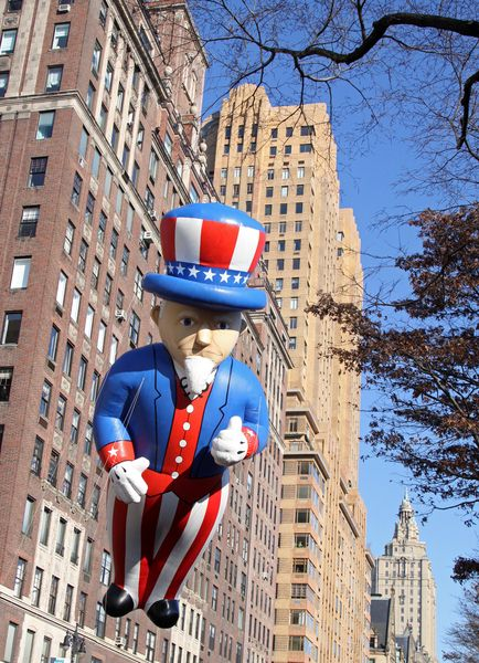 Uncle Sam at 82nd Annual Macy's Thanksgiving Day Parade at Streets of Manhattan, New York City, NY, USA