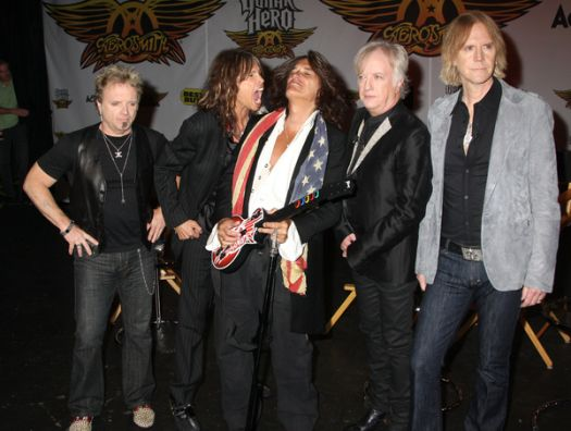 Aerosmith at Aerosmith Launches Their New Video Game 'Guitar Hero: Aerosmith' at Hard Rock Cafe in New York - Hard Rock Cafe, New York City, NY, USA