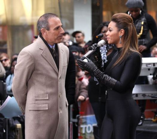 Beyonce Knowles, Matt Lauer at Beyonce Knowles in Concert on NBC's 'Today Show' at Rockefeller Center, New York City, NY, USA