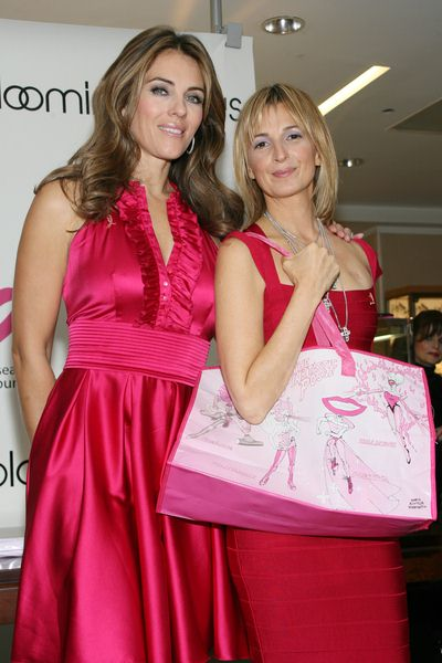 Elizabeth Hurley, Marisa Acocella Marchetto at Bloomingdale's '59th Street Shines Pink' to Benefit the Breast Cancer Research Foundation - Bloomindale's at 59th Street and Lexington Avenue, New York City, NY, USA