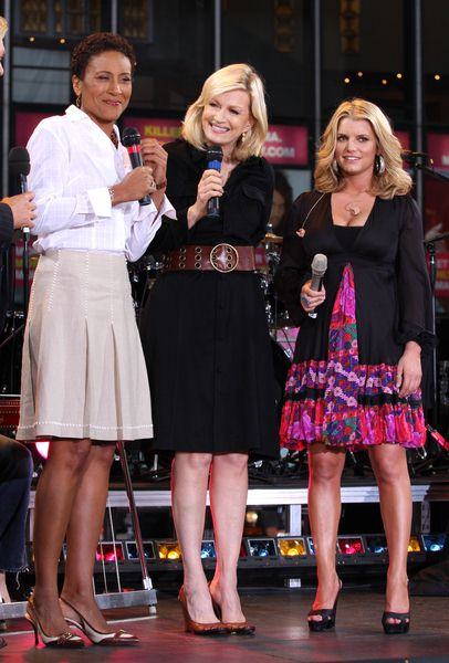 Robin Roberts, Diane Sawyer, Jessica Simpson at Jessica Simpson on ABC's Good Morning America Fall Concert Series at Times Square, New York City, NY, USA