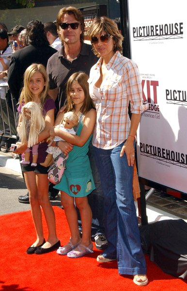 Harry Hamilin, Lisa Rinna, Amelia (daughter), Delilah (daughter) at 'Kit Kittredge: An American Girl' World Premiere at The Grove, Los Angeles, CA. USA