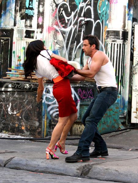Lindsay Price, Carlos Ponce at 'Lipstick Jungle' Television Series Filming in Soho on July 10, 2008 - Soho, New York City, NY, USA