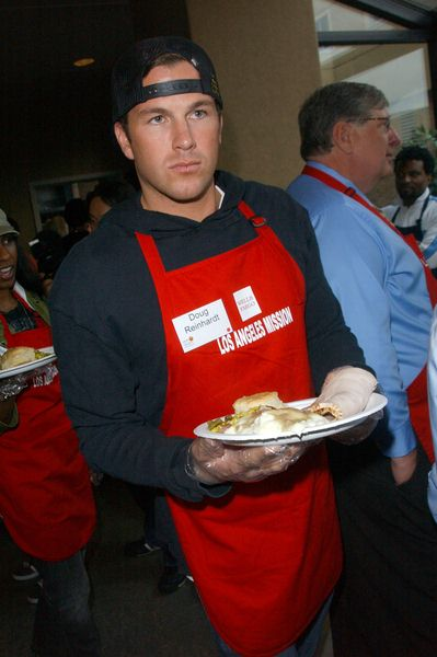 Doug Reinhardt at Los Angeles Mission Thanksgiving Meal For The Homeless at L.A. Mission and Anne Douglas Center, Los Angeles, CA. USA