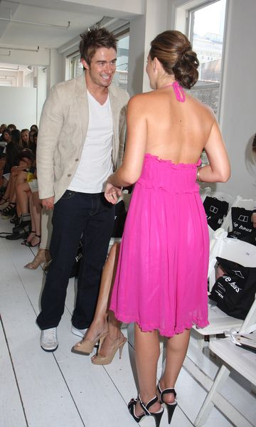 Robert Buckley, Leighton Meester at Mercedes-Benz Fashion Week Spring 2009 - Julie Haus Show at 28 West 36th Street, New York City, NY, USA