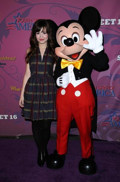 Demi Lovato, Mickey Mouse at Miley Cyrus 'Sweet 16' Celebration at Disneyland, Anaheim, CA, USA