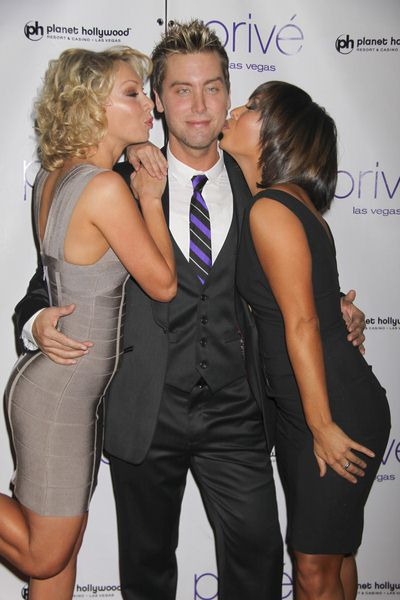 Kym Johnson, Lance Bass, Cheryl Burke at New Year's Eve Celebration Hosted by Denise Richards and Lance Bass at Prive Nightclub at Planet Hollywood Hotel and Casino, Las Vegas, NV, USA