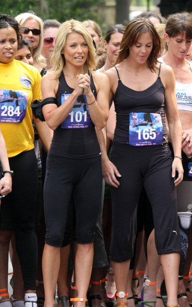 Kelly Ripa at The Regis and Kelly Show Hosts 'High-Heel-A-Thon' for the March of Dimes Charity in Central Park in New York City, NY, USA
