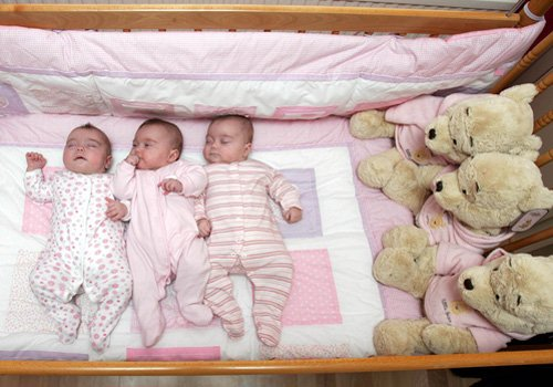 Rees Triplets (Olivia Rees, Gabriella Rees, Alessia Rees) at Carmela Testa and Richard Rees Identical Triplets Exclusive Photo Shoot on April 25, 2008 from Peterborough, England