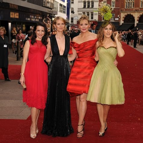 Sarah Jessica Parker, Kristin Davis, Cynthia Nixon, Kim Cattrall at 'Sex and the City: The Movie' London Premiere - Arrivals at Leicester Square, London, England