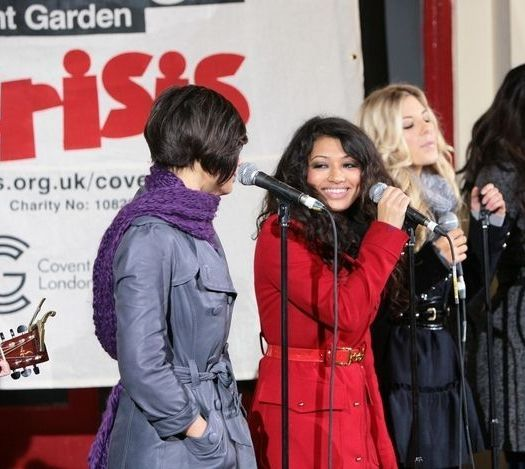 The Saturdays at The Saturdays in Concert to Benefit Crisis at Super Busking at Covent Garden, London, UK