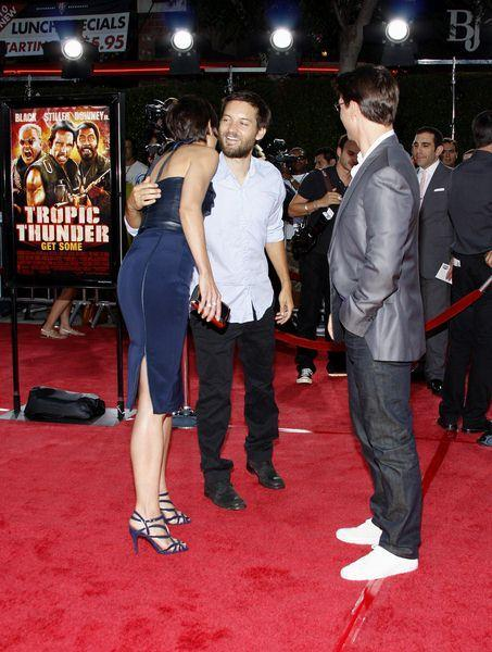 Tobey Maguire, Katie Holmes, Tom Cruise at 'Tropic Thunder' Los Angeles Premiere - Arrivals at Mann Village Theater, Westwood, CA, USA