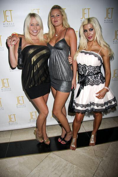 Brandi C, Megan, Angelique 'Frenchy' at VH1 Rock of Love: Charm School Hosts Party - Jet Nightclub at the Mirage Hotel and Casino, Las Vegas, NV, USA