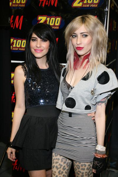 The Veronicas (Jessica Origliasso, Lisa Origliasso) at Z100's Jingle Ball 2008 at Madison Square Garden, 4 Penn Plaza at 34th Street, New York City, NY, USA