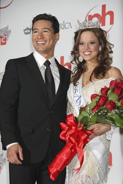 Mario Lopez, Katie Stam at 2009 Miss America Pageant Post Press Conference at Planet Hollywood Casino Resort in Las Vegas, NV, USA