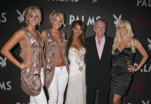 Karissa Shannon, Kristina Shannon, Ida Ljungqvist, Hugh Hefner, Crystal Harris at 50th Annual Playboy Playmate of the Year Announcement and Celebration - Palms Hotel and Casino, Las Vegas, NV, USA