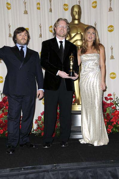 Jack Black (Actor), Andrew Stanton (director), Jennifer Aniston (actress) at 81st Annual Academy Awards Oscars - Press Room at The Kodak Theatre, Hollywood, CA, USA