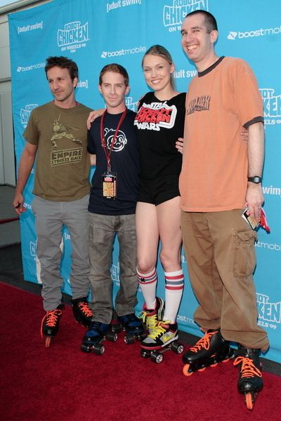 Breckin Meyer, Seth Green, Clare Grant, Matthew Senreich at Adult Swim Presents: Robot Chicken Skate Party Bus Tour in Los Angeles - Skateland, Northridge, CA, USA