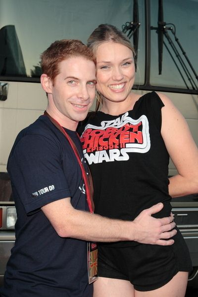 Seth Green, Clare Grant at Adult Swim Presents: Robot Chicken Skate Party Bus Tour in Los Angeles - Skateland, Northridge, CA, USA