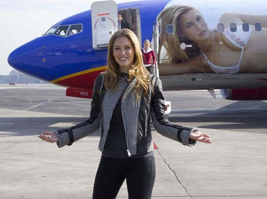 Bar Refaeli at Bar Refaeli and Sports Illustrated Unveils the SI One Southwest Airline Boeing 737-700 at LaGuardia Airport in New York