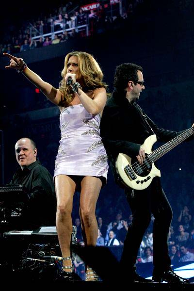 Celine Dion at Celine Dion in concert during her 'Taking Chances' tour at American Airlines Arena, Miami, Florida, USA