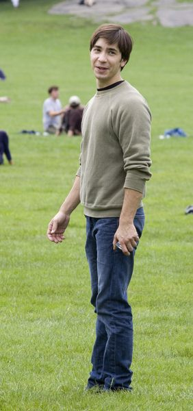 Justin Long at 'Going the Distance' Filming in Central Park, New York City, NY, USA