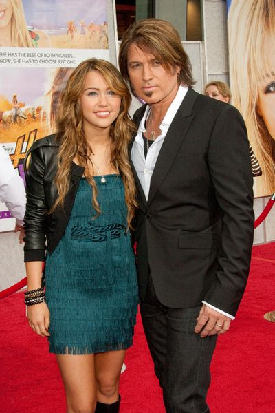 Miley Cyrus, Billy Ray Cyrus at 'Hanna Montana The Movie' World Premiere - El Capitan Theatre, Hollywood, CA, USA