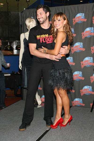 Maksim Chmerkovskiy, Karina Smirnoff at Karina Smirnoff and Maksim Chmerkovskiy Footprint Ceremony to Promote 'Burn the Floor' at Planet Hollywood, 1540 Broadway at 45th Street, New York City, NY, USA
