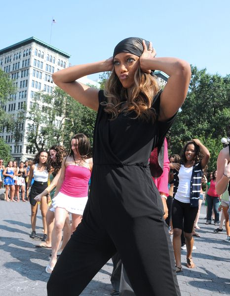 Tyra Banks at Tyra Banks Participates in a Dance Flash Mob in Union Square, New York City, NY, USA